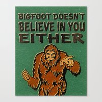 bigfoot Canvas Prints featuring Bigfoot by Heather Green