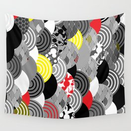Nature background with japanese sakura flower, Cherry, wave circle Black gray white Red Yellow Wall Tapestry