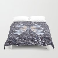 silver Duvet Covers featuring Silver by Elena Indolfi