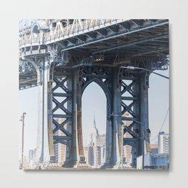 Manhattan Bridge Empire Blue Metal Print