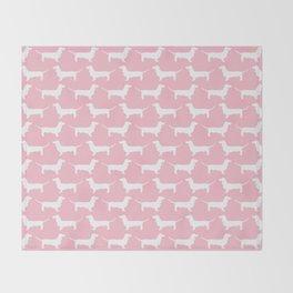 Pink Dachshund Silhouette Pattern Throw Blanket