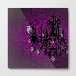 Bird & Purple Damask Sparkly Chandelier Silhouette Metal Print