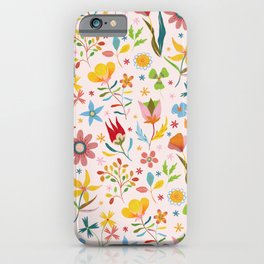 Dream Florals, Pink Background iPhone Case