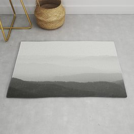 Black and white foggy horizon lines Rug