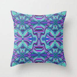 Blue and Purple Waves Watercolor Throw Pillow