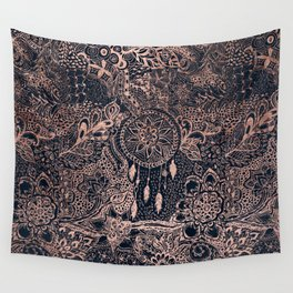 Boho rose gold dreamcatcher floral navy blue Wall Tapestry