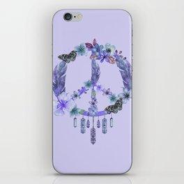 Purple Watercolor Peace Symbol Floral Dreamcatcher iPhone Skin