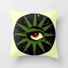 Red and Green All Seeing Cosmic Eye Throw Pillow