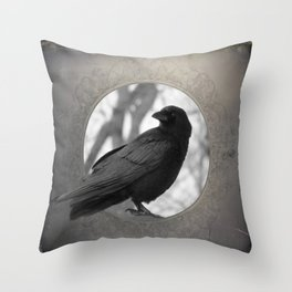 Portrait Of A Crow Throw Pillow
