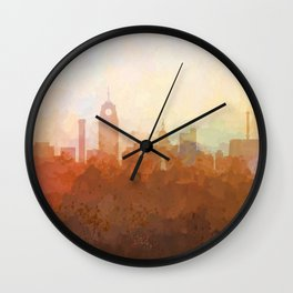 Lansing, Michigan Skyline - In the Clouds Wall Clock