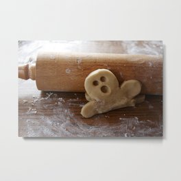 Ginger bread man and rolling pin Metal Print
