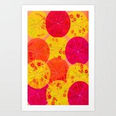 Red Hot Umbrellas Art Print