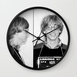 Bill Gates Mugshot 1977 Black & White Wall Clock