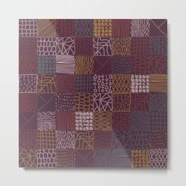 Hand Drawn Geometric Square Pattern Design - Burgundy Metal Print
