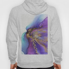Blooming Gold In Violet Iris - Abstract Ink Painting Hoody