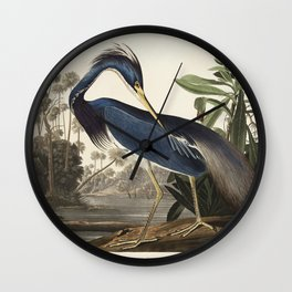 Louisiana Heron from Birds of America (1827) by John James Audubon, etched by William Home Lizars Wall Clock