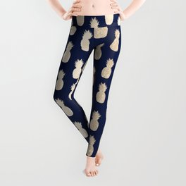 Gold Pineapple Pattern Navy Blue Leggings