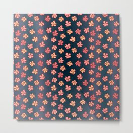 1960s Flowers on blue Metal Print