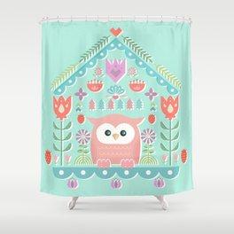 Scandinavian Folk Style Owl Bird House Shower Curtain