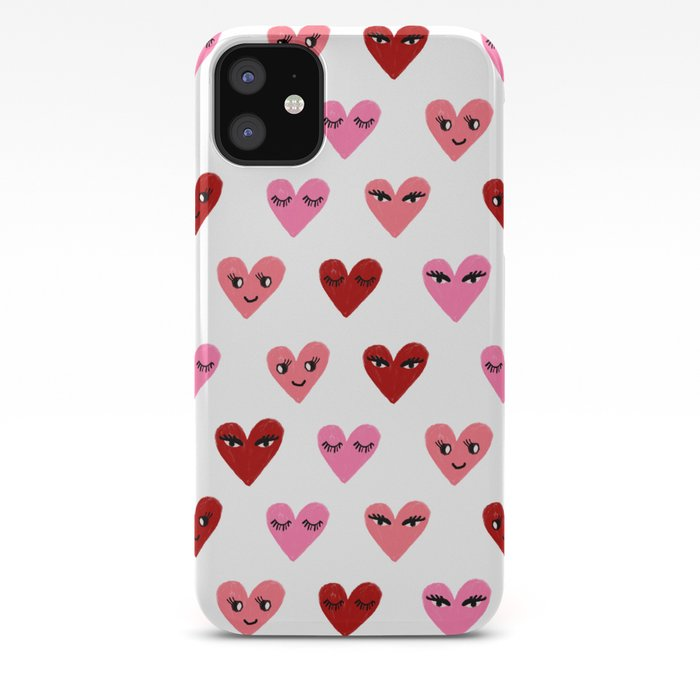 Heart Love Valentines Day Gifts Hearts With Faces Cute Valentine Red And Pink Iphone Case