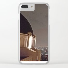 Griffith Observatory under cloudy night skies Clear iPhone Case