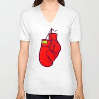 boxing V-neck T-shirts featuring Boxing Gloves by Artistic Dyslexia