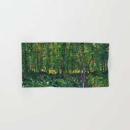 Brush and Underbrush flower and forest landscape by Vincent van Gogh Hand & Bath Towel