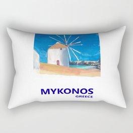 Mykonos Greece Windmill, Sea and Little Venice Travel Retro Poster Rectangular Pillow