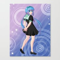 vocaloid Canvas Prints featuring Aoki Lapis - VOCALOID Gakuen by Tenki Incorporated