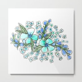 Blue Forget Me Not Floral Watercolor Metal Print