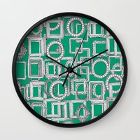 frames Wall Clocks featuring picture frames aplenty green by Sharon Turner