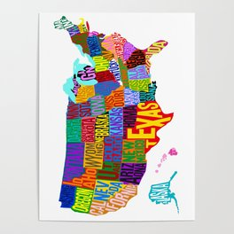 United States Cloud Map Poster