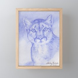 Blue Mountain Lion Watercolor Framed Mini Art Print