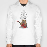 rock and roll Hoodies featuring ewok rock&roll by flydesign