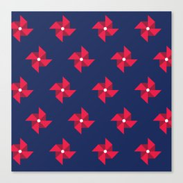 Red Pinwheels Pattern Canvas Print
