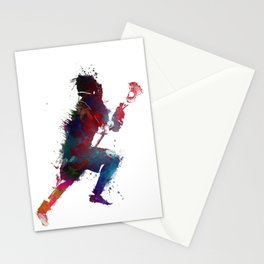 Lacrosse player art 1 Stationery Cards