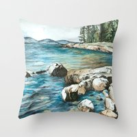 maine Throw Pillows featuring Maine by Micaela Payne