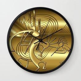 Magical Kokopelli in Gold Wall Clock