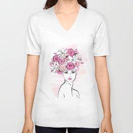 Pink Floral Hat Lady Fashion illustration art print Unisex V-Neck