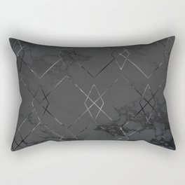 Silver Geometric Modern Pattern Trendy Black Marble IV Rectangular Pillow