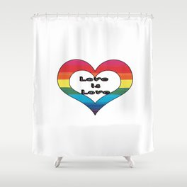Love is Love LGBT Pride Heart Design Shower Curtain