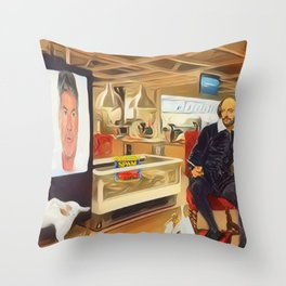 Shakespeare watches xfactor in a famous Swedish retail outlet in Stratford Throw Pillow