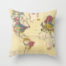 Vintage Geological Map of The World (1875) Throw Pillow