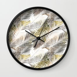 Fern's leaves on white background. Wall Clock