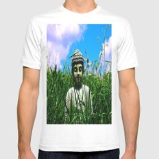 Buddha Looks Through Grass Mens Fitted Tee MEDIUM White