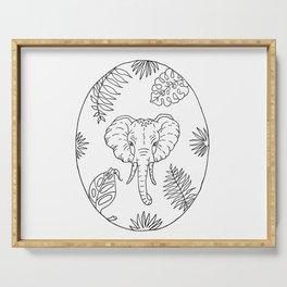 Elephant Botanical Tropical Plant Illustration Serving Tray