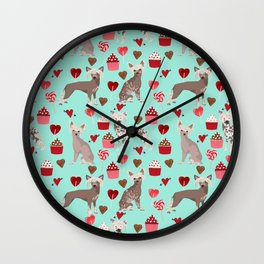Chinese Crested valentines day cupcakes hearts gifts for unique dog breed owners love Wall Clock