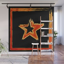 Fire star in red and blue color on a black background. Wall Mural