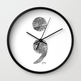 Patterned Semicolon #2 Wall Clock