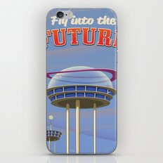 Fly to the Future retro poster iPhone & iPod Skin